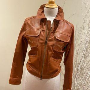 Salmon coloured Harley-Davidson leather jacket